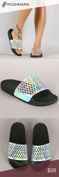 """Hologram Open Toe Slide Sandal DESCRIPTION This slide sandal features a wide band across vamp with perforated detail, molded foodbed, and hologram finished. Easy slip-on style.  Material: Vegan Patent Leather (man-made) Sole: PVC Style#039540  MEASUREMENT Heel Height: 0.75"""" (approx)   TRUE SIZE starlight footwear  Shoes Sandals"""