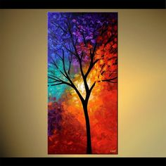 "48""x24"" Tree of Life - PRINT STRETCHED & EMBELLISHED - ABSTRACT Art by OSNAT in Art, Direct from the Artist, Prints 