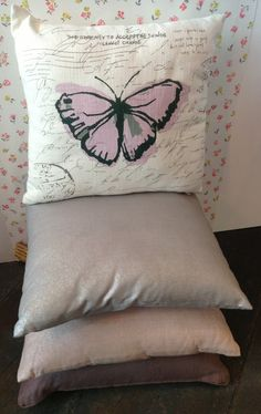 Sumptuous cushions from the Romantic Arty collection - with script butterfly and soft metallic styles. #cushions