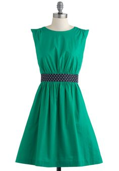 Too Much Fun Dress in Green by Emily and Fin - Green, Blue, Solid, Polka Dots, Party, Sleeveless, Mid-length, Pockets, Fit & Flare, Vintage Inspired, Cotton, International Designer