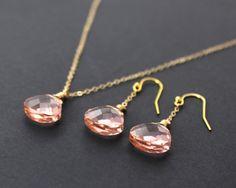 Bridesmaid Jewelry Set Blush Pink Bridesmaid Necklaces and Earrings by PowderandJadeBridal on Etsy, $35.00