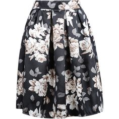 SheIn(sheinside) Black Floral Midi Skirt (20 CAD) ❤ liked on Polyvore featuring skirts, sheinside, bottoms, black, black knee length skirt, knee length skirts, floral skirt, calf length skirts and pleated skirt