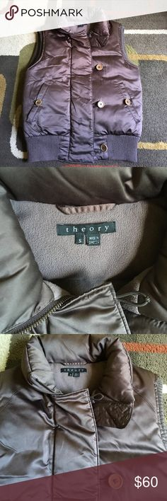 Theory down filled puffer vest⭐️ Material is shell 97% polyester 3% polyurethane lining 100% polyester ⭐️ insulation down⭐️ Color is deep brown with a glossy finish⭐️ Theory Jackets & Coats Puffers
