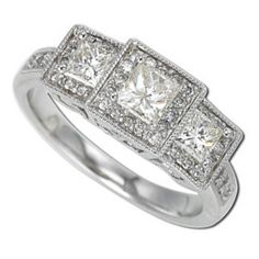 Women's Princess-Cut 3-Stone Past, Present and Future #Diamond #Bridal #Ring, Elegantly accented with Pave-Set Round #Diamonds. $1850.00