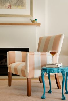 This Schumacher peach and cream silk stripe makes an elegant statement.