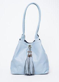 2dc6fe9945 Handbag Riverside  full grain leather  light blue  40 and suede navy  44