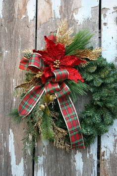 Christmas Wreath, Plaid Ribbon, Red Poinsettia