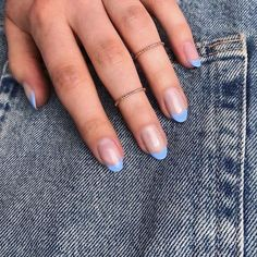 Almond Nails French, French Tip Acrylic Nails, Almond Acrylic Nails, Best Acrylic Nails, Blue French Manicure, Summer French Nails, Short French Nails, Rounded Acrylic Nails, Nail French