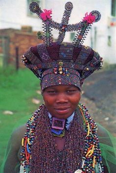 "Africa | ""A Zulu bride with the colourful beadwork and finery which is so characteristic of this proud race.""  Natal, South Africa 