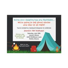 Camping Birthday Party Invitation Boys Sleepover invitations