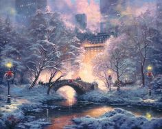 Thomas Kinkade Holiday at Central Park print for sale. Shop for Thomas Kinkade Holiday at Central Park painting and frame at discount price, ships in 24 hours. Thomas Kinkade Art, Thomas Kinkade Christmas, Thomas Kinkade Disney, Christmas Scenes, Christmas Art, Christmas Landscape, Christmas Villages, Victorian Christmas, Winter Christmas