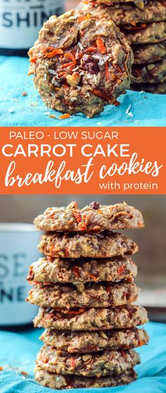 Breakfast cookies are always a good idea. These paleo carrot cake-style cookies are made grain-free and come with a protein boost, thanks to collagen peptides. Low sugar/carb!!