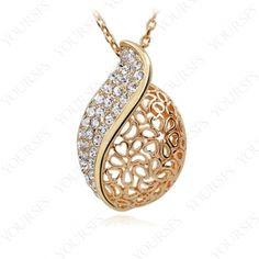 Vintage Hollow-out Pendant 18K Rose Gold Plated Swarovski Crystal Necklace N168R1