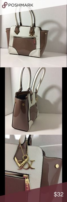 Hue&Ash Block Color Pebble & Patent Leather Purse Hue & Ash White and Brown Block Color Hangbag. Faux Patent Leather Material. Great condition! Like New! 💋 Hue&Ash Bags Crossbody Bags