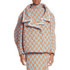 Women's Richard Malone Quilted Short Coat (110.135 RUB) ❤ liked on Polyvore featuring outerwear, coats, orange blue, puff sleeve coat, blue coat, herringbone coat, short coat and peacocks coats