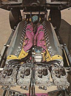 Ed Wood's 12 cylinder 1,710 cid Allison powered '64 Chevy Malibu
