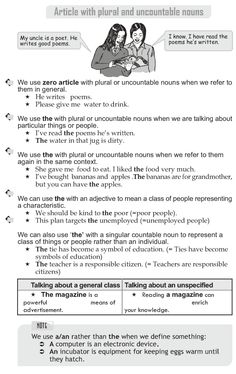 Grade 10 Grammar Lesson 29 Article with plural and uncountable nouns (1)