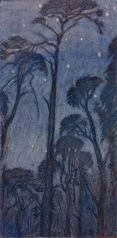 Trees at Twilight Edward Robert Hughes