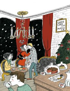 Christmas meeting at the cafe #ilustration #pencil #textures #scene #digitalcolor #story #christmas #cafe #friends #love #snow Xmas, Christmas, Pencil, Scene, Snow, Graphic Design, Texture, Friends, Illustration