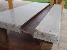 "Polished concrete coffee table with steel ""I-beam"" and reclaimed wood base - Couchtisch Concrete Table Top, Wood Bar Table, Concrete Wood, Concrete Design, Steel Table, Polished Concrete Countertops, Concrete Furniture, Industrial Furniture, Cool Furniture"
