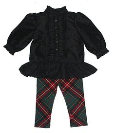 NWT Baby Girl RALPH LAUREN Taffeta Top Plaid Leggings Set Holiday Outfit Size 6M