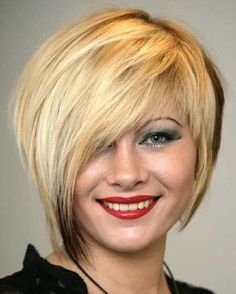 blond short hair, asymmetrical short hairstyle, formal look
