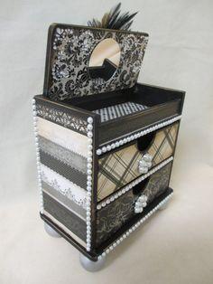 Elegant Black PEARL Jewelry Trinket Treasure Chest of Drawers DRESSER Wooden Box Diva Bling Damask Upcycled Wood OOAK on Etsy, $46.00