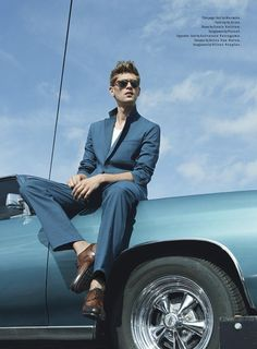 Milan Vukmirovic photographs fast cars and sharp suits for the April 2013 issue of Details magazine featuring Danish model Mathias Lauridsen, styled by Matthew Marden. Milan Vukmirovic, Car Poses, Details Magazine, Male Models Poses, Men Photoshoot, Photography Poses For Men, Girl Photography, Portrait Poses, Male Portraits