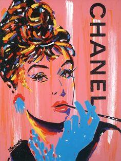 John Stango Audrey Chanel Pink Embellishe Giclee