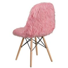 Flash Furniture Modern Light Pink Accent Chair at Lowe's. This fashionable contemporary chair has a retro appeal with a molded back and seat. This colorful chair will brighten your home or office decor. Pink Accent Chair, Accent Chairs, Black Dining Room Chairs, White Chairs, Faux Fur Material, Contemporary Chairs, Colorful Chairs, Cafe Chairs, Pink Accents