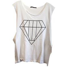 Wildfox Big Diamond Cut Off Tank in White ($64) ❤ liked on Polyvore featuring tops, shirts, tank tops, tanks, white, cut off shirts, cutoff shirt, white singlet, shirts & tops and white tank