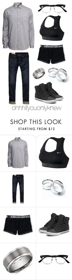 """Untitled #194"" by ohhhifyouonlyknew ❤ liked on Polyvore featuring H&M, NIKE, Hollister Co., Aéropostale, Supra, Blue Nile, Cutler and Gross and tomboy"