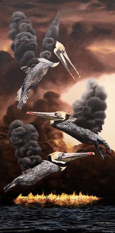 "Pervasive by artist, Amy Guidry; Acrylic on canvas; 10""w x 20""h  Available from LeMieux Galleries, New Orleans  #art #painting #birds #surrealism #surreal #surrealist #nature #pelicans #fire #bp #wetlands #conservation #ecology"