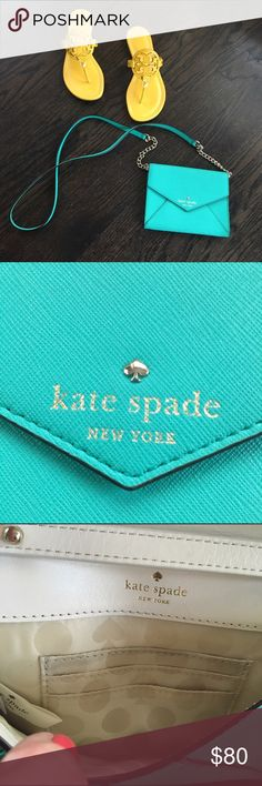 "Kate Spade Cedar Street Spring Green Crossbody Bag Kate Spade crossbody bag. Looks turquoise, but it's actually green(like in picture #4). Leather with 14k gold plated hardware. Snap closure. Interior has 3 cc slots. Like new condition. 6.5""x.5""x5"". kate spade Bags Crossbody Bags"