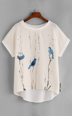 Graphic Print Dolman Sleeve Dip Hem Chiffon Top
