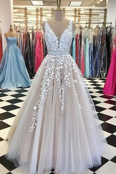 Champagne v neck tulle lace long wedding dress, tulle prom dress