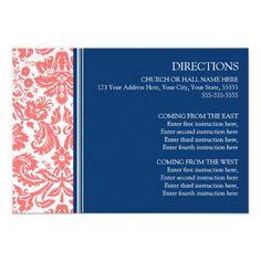 Wedding Direction Cards Coral Blue Damask