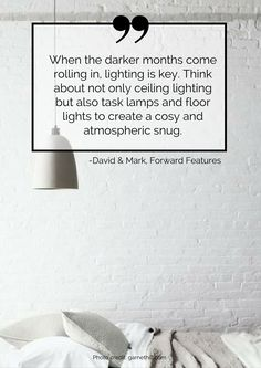 When the darker months come rolling in, lighting is key. Think about not only ceiling lighting but also task lamps and floor lights to create a cosy and atmospheric snug. Read more tips for transitioning your home from summer to autumn here: https://nyde.co.uk/blog/transition-home-summer-autumn/