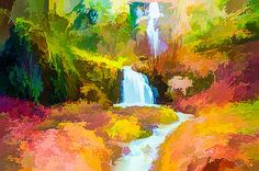 Lanjee Chee - Autumn creek woods with yellow trees foliage 1