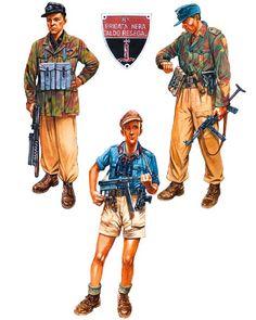 """""""Summer 1944"""" • Squadrista, 8a Brigata Nera 'Aldo Resega', Milan  • Oberleutnant, Luftwaffen Sicherungs Regiment, northern Italy  • Partisan, 1st Garibaldi Division 'Divisione Valsesia', northern Italy"""