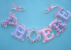 Fabric letter name banner girl's room name by LittleFairyCottage, $7.00