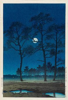 Kawase Hasui, Winter Moon at Toyamagahara, 1931 #art #Japan #Ukiyo-e