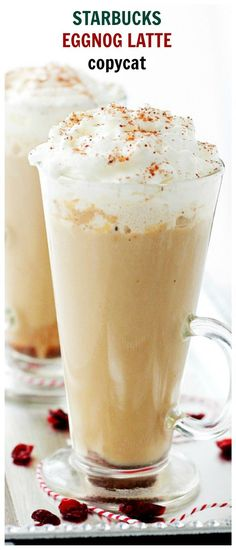 Starbucks Eggnog Latte -make with coquito. This festive, Starbucks-inspired latte, is made with strong brewed espresso, steamed eggnog and milk. Eggnog Latte Recipe, Café Starbucks, Starbucks Recipes, Coffee Recipes, Coffee Latte, Eggnog Coffee, Espresso Coffee, Iced Coffee, Bonbon