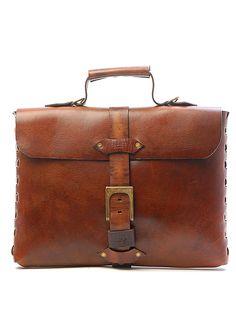 Sandast - Theo Notebook Leather Messenger Bag (Khaki) | $750