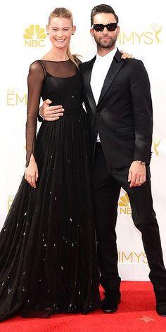 Behati Prinsloo and Adam Levine, both in Prada - The 2014 Emmy Awards