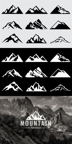 Hi guys, I'm happy to present you the volume of Mountain Shapes For Logos Pack. This product was designed to help you create any mountain shape you want Mountain Logos, Mountain Designs, Mountain Tattoo, Graphisches Design, Badge Design, Logo Montagne, Outdoor Logos, Photoshop Shapes, Mountain Drawing