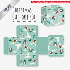 Reindeer Christmas Cut-Out Box - with ready to print templates! Check out all the boxes & download at @homelifeabroad.com #christmasgifts #christmasboxes #christmastemplates #christmasprintables #xmas #DIY #boxes #christmasDIY #christmascrafts #reindeer
