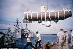 Trieste submersible on route to Mariana Trench (from BBC News story on James Cameron's dive attempt). Trieste, Deepsea Challenger, Challenger Deep, Rolex, Deep Diving, Scuba Diving, Ocean Depth, Exploration, Dark Places
