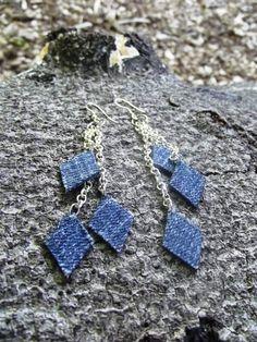 Denim Earrings- Diamond Chain Denim Jean Earrings on SALE