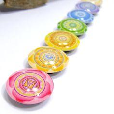 Glass Fridge Magnet Chakra Mandala Symbols Set of by AnandaBijoux, $17.00  @Stephanie Clarke, though you would like these:)